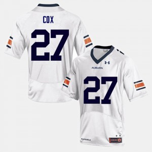 For Men's Tigers #27 Chandler Cox White College Football Jersey 944600-762