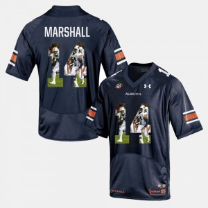 Mens Auburn Tigers #14 Nick Marshall Navy Blue Player Pictorial Jersey 287986-869