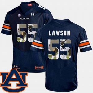 Men Tigers #55 Carl Lawson Navy Pictorial Fashion Football Jersey 264644-858
