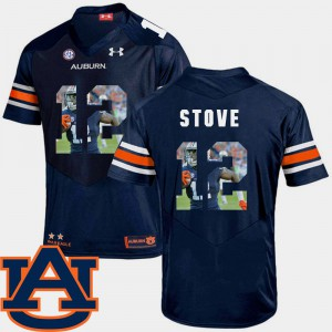 Men's Tigers #12 Eli Stove Navy Pictorial Fashion Football Jersey 848754-198