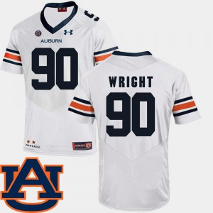 For Men's AU #90 Gabe Wright White College Football SEC Patch Replica Jersey 918196-729