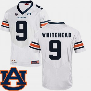 Men's Tigers #9 Jermaine Whitehead White College Football SEC Patch Replica Jersey 740063-167
