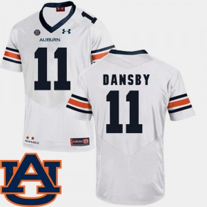 Men's AU #11 Karlos Dansby White College Football SEC Patch Replica Jersey 153741-382