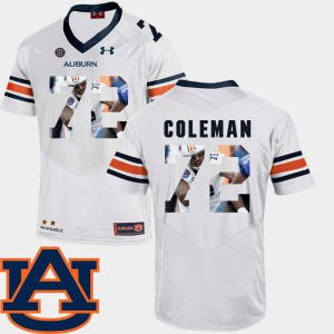 Mens Tigers #72 Shon Coleman White Pictorial Fashion Football Jersey 114403-627