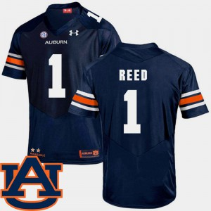 Mens Tigers #1 Trovon Reed Navy College Football SEC Patch Replica Jersey 830699-999