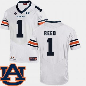 Mens AU #1 Trovon Reed White College Football SEC Patch Replica Jersey 123518-435