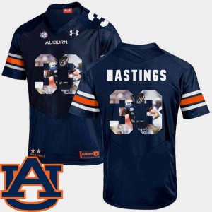 Men's AU #33 Will Hastings Navy Pictorial Fashion Football Jersey 680945-394