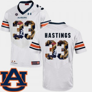 For Men Auburn University #33 Will Hastings White Pictorial Fashion Football Jersey 690325-958