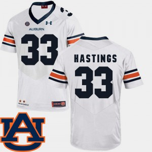 Mens Auburn #33 Will Hastings White College Football SEC Patch Replica Jersey 885485-714